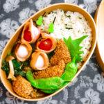 N's KITCHENお弁当レシピ:鰹の胡麻揚げ弁当完成