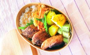 N'sKITCHENお弁当レシピ:鮭のカレー焼き弁当完成