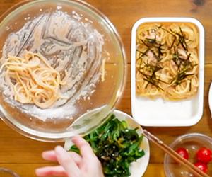N's KITCHENお弁当レシピ:たらこスパゲッティ-8