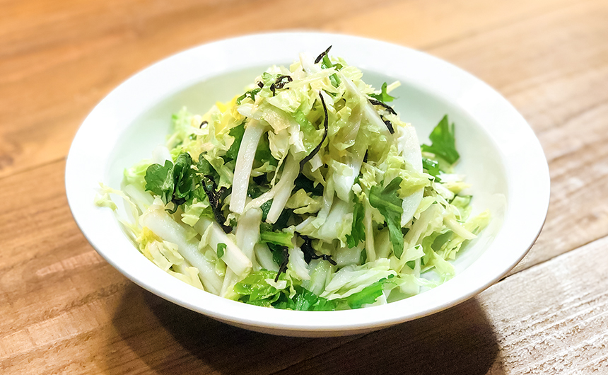 白菜と春菊の塩昆布和え