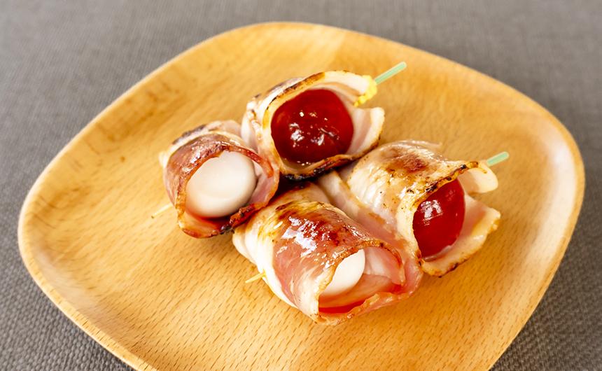 ミニトマトとうずら卵のベーコン巻き