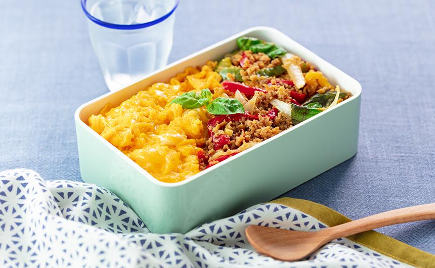 おすすめ1品:<span>そぼろ弁当をタイ風にアレンジ</span>ガパオライス風鶏そぼろ弁当