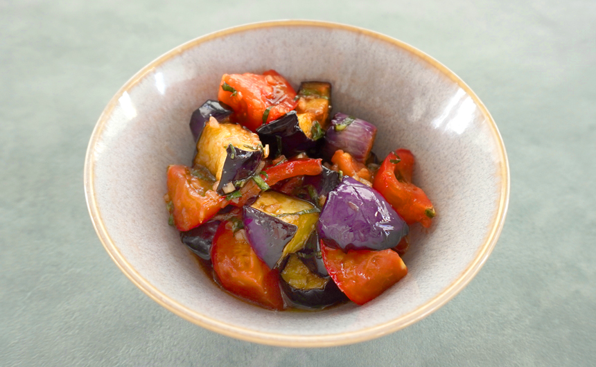 茄子とフルーツトマトのバルサミコマリネ